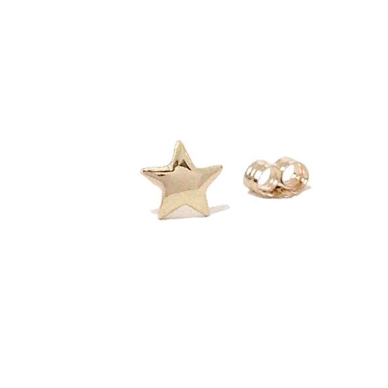 6d08bd326 Star 14K Solid Gold SINGLE Stud Earring XS Unisex Tiny Stars | Etsy