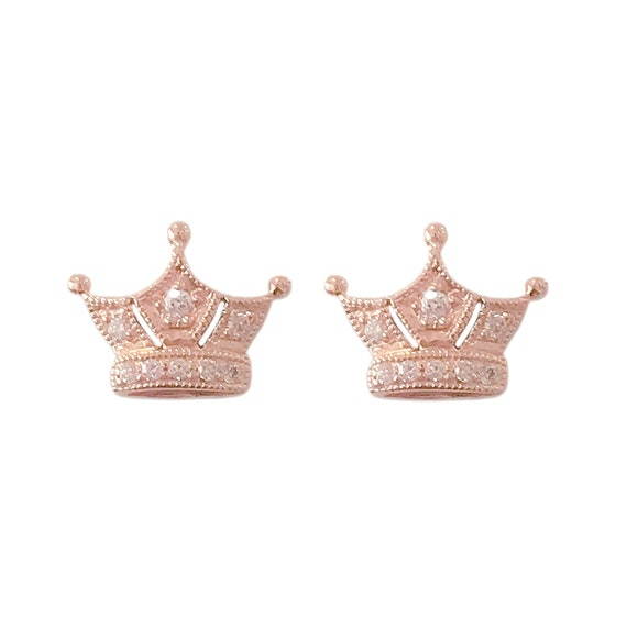 f293c8b8c Pavé Diamond Crown 14K Solid Gold Stud Earrings Real Natural   Etsy