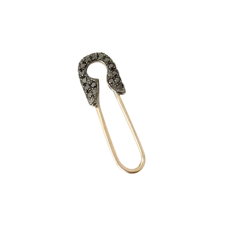 90c04dd83 Black Diamond Safety Pin Earring & Solid 14K Gold All Sizes   Etsy