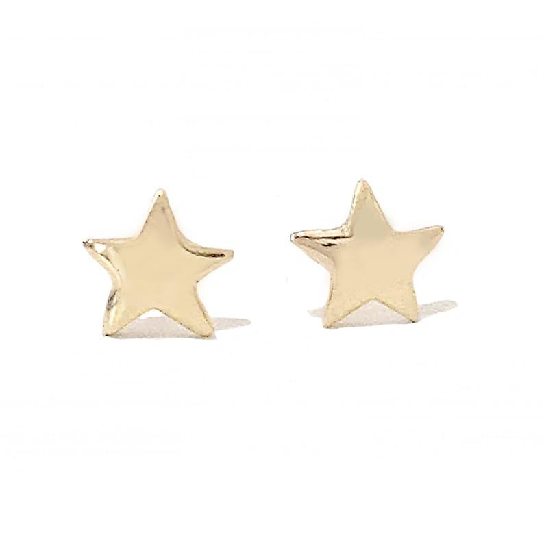 962756071 Star 14K Solid Gold Stud Earrings XS Tiny Dainty Stars   Etsy