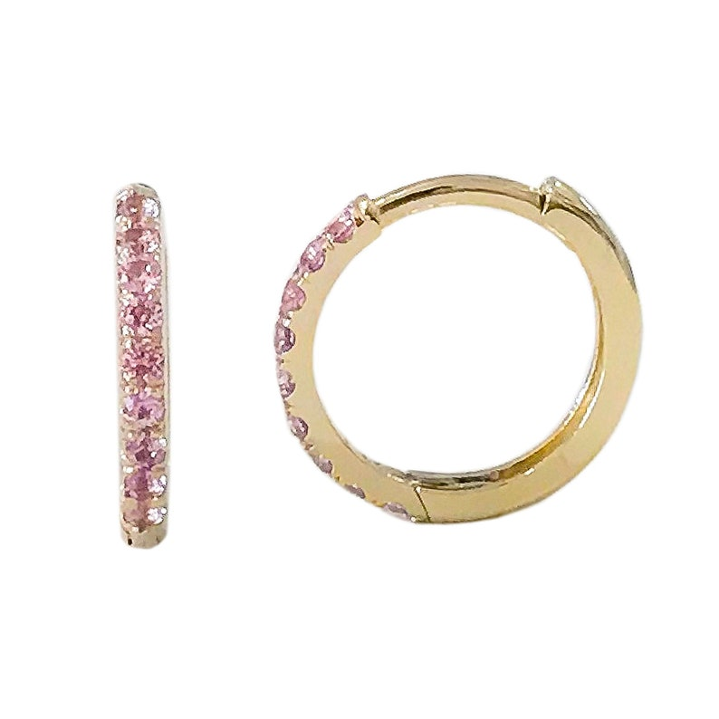 52fbcd1354897 Pink Sapphire 14K Solid Gold Huggie Hinged Hoop Pavé Earring, 12mm Outer x  9.5mm Inner Diameter ~ Large Size (Earlobe Conch Helix Piercings)
