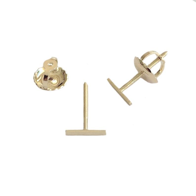 78285bac4 6mm Bar 14K Solid Gold Screw Back Stud Earrings XS Dainty   Etsy