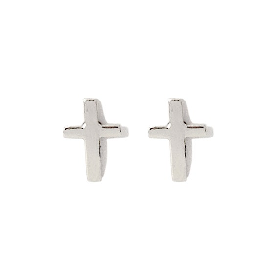 Solid 14k Yellow Gold Cross Screw Back Stud Earrings 6mm x 4mm Unisex