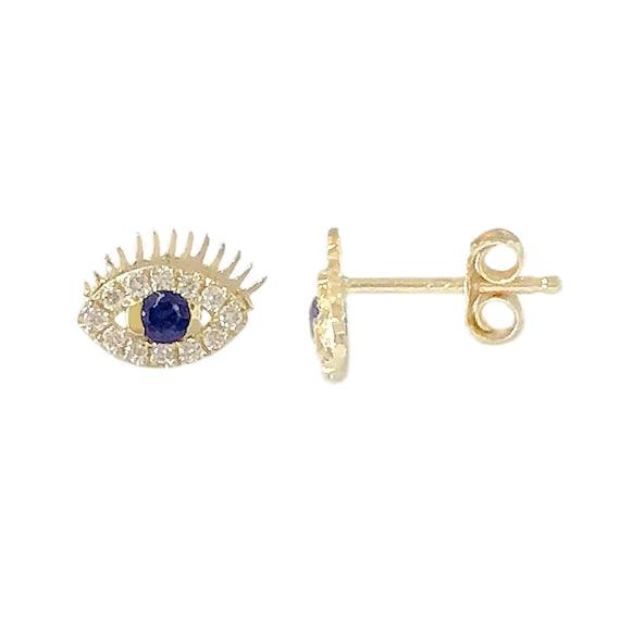 3b74efafa Pavé Diamond & Black Diamond Evil Eye Stud 14K Solid Gold   Etsy