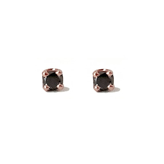 99883ac32 Black Diamond 14K Solid Gold 4 Prong Stud Solitaire 2mm   Etsy