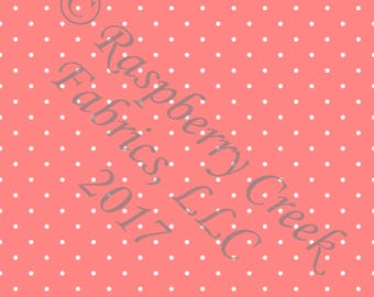 Coral and White Pin Polka Dot 4 Way Stretch FRENCH TERRY Knit Fabric, Club Fabrics