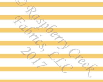 Yellow and White Stripe 4 Way Stretch Jersey Knit Fabric, Club Fabrics