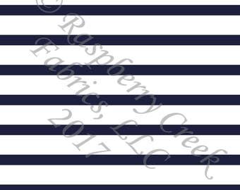 Navy Blue and White Stripe 4 Way Stretch Jersey Knit Fabric, Club Fabrics