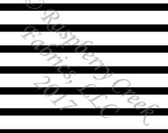 Black and White Stripe 4 Way Stretch FRENCH TERRY Knit Fabric, Club Fabrics