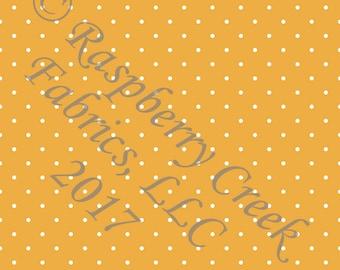 Mustard and White Pin Polka Dot 4 Way Stretch FRENCH TERRY Knit Fabric, Club Fabrics