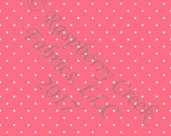 Salmon and White Pin Polka Dot 4 Way Stretch Jersey Knit Fabric, Club Fabrics