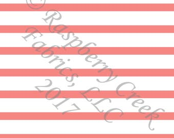 Coral and White Stripe 4 Way Stretch Jersey Knit Fabric, Club Fabrics