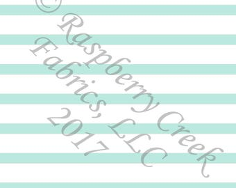 Mint and White Stripe 4 Way Stretch Jersey Knit Fabric, Club Fabrics