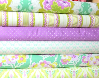 Turquoise Lilac and Cream Bold Floral Geometric Fabric, Lottie Da by Heather Bailey for Free Spirit, at Quarter Bundle, 6 Prints Total