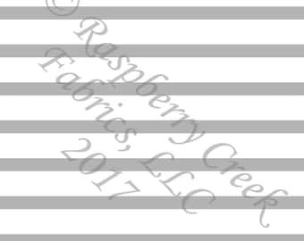 Grey and White Stripe 4 Way Stretch FRENCH TERRY Knit Fabric, Club Fabrics