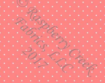 Coral and White Pin Polka Dot 4 Way Stretch Jersey Knit Fabric, Club Fabrics
