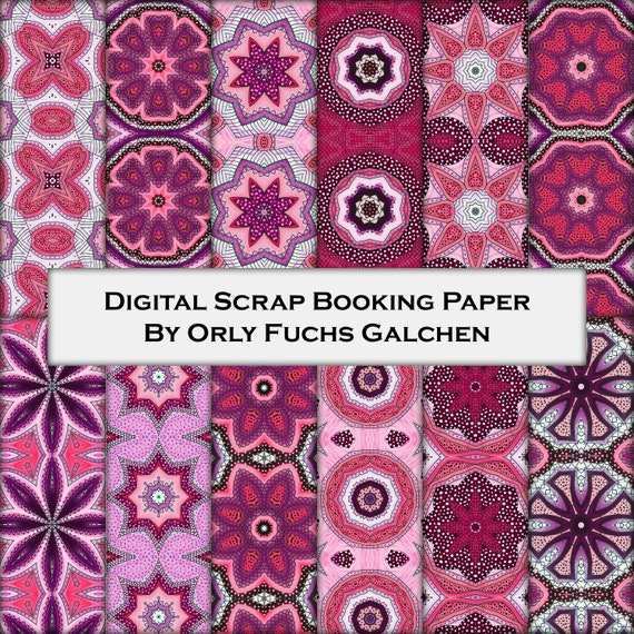 picture about Printable Decorative Paper identify Attractive Paper Fastened For Sbooking inside of Pink, Red, Lilac and White. 12 Electronic Printable Paper Models 12x12 With Bouquets.
