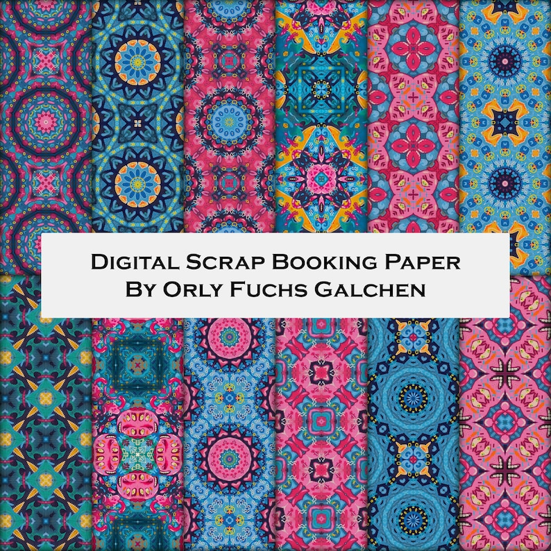 photograph regarding Free Printable Decorative Paper referred to as 12 Electronic Downloadable Ornamental Paper Pack Electronic Paper in just Red, Turquoise, Environmentally friendly Blue and Yellow. Sbook Patterns For Paper Crafts