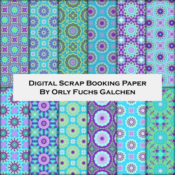 graphic about Decorative Paper Printable called Crimson Turquoise Environmentally friendly Fastened of 12 Electronic Sbooking Paper Sheets. Circles Habit. Printable Ornamental Paper For Collage and Card Creating