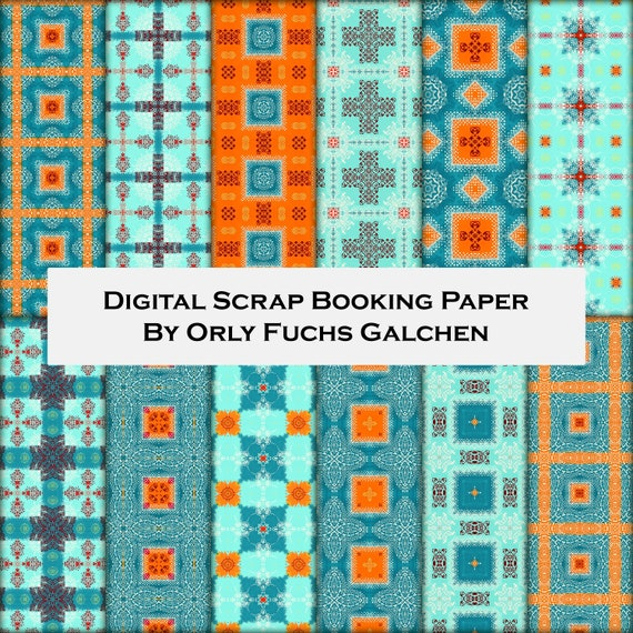 photo relating to Printable Patterned Paper referred to as Orange, Teal and Turquoise Sbook Paper Fastened. Ornamental Patterned Paper. 12 Electronic Printable Paper Sheets, Substantial Solution 12x12 Pack