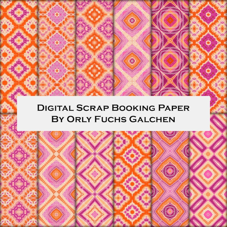 image relating to Printable Decorative Paper titled 12x12 Printable Sbook Paper Established. Attractive Paper Sheets With Rhombus within just Orange, Fuchsia, Peach. Electronic Record, Collage Paper Preset