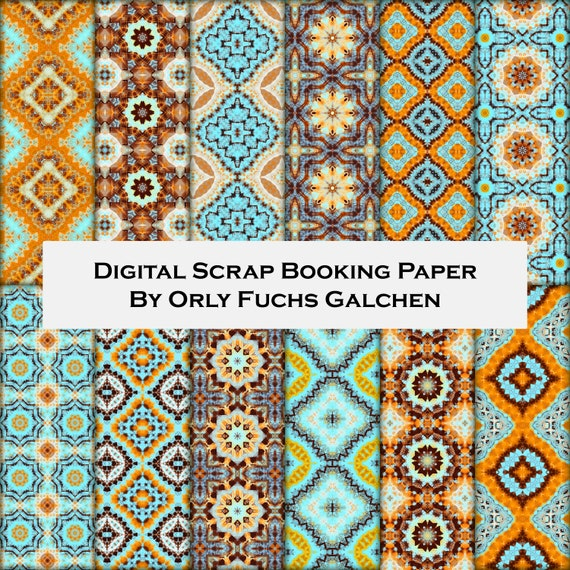 12x12 Digital Paper Collection In Orange Turquoise Teal And Etsy