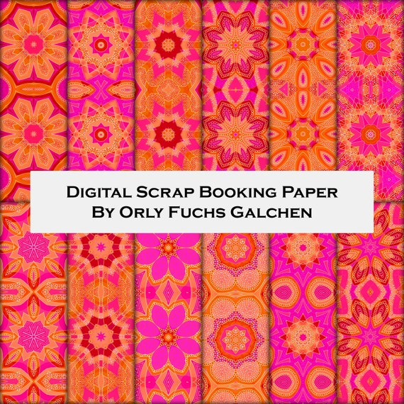 photograph regarding Printable Decorative Paper referred to as Electronic Sbooking Paper Preset within just Crimson, Purple, Orange, Pink. 12 Electronic Printable Sheets. 12x12 Ornamental Downloadable Patterned Paper Pack
