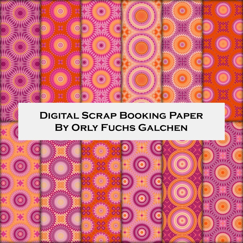 photo relating to Printable Patterned Paper named Printable Patterned Paper with Circles and Dots. 12x12 Sbooking Paper Pack. 12 Ornamental Models within just Pink, Orange, Red, Peach, White