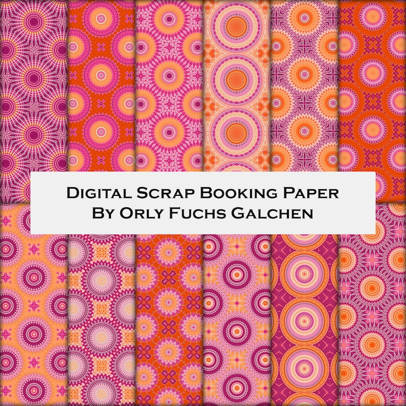 photograph relating to Printable Decorative Paper referred to as Printable Patterned Paper with Circles and Dots. 12x12 Sbooking Paper Pack. 12 Attractive Practices within just Pink, Orange, Crimson, Peach, White