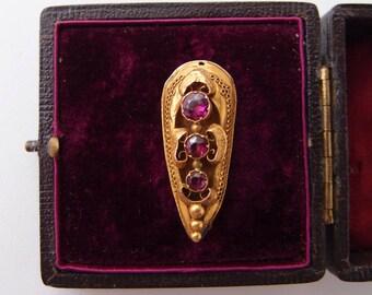 antique 15k Gold Garnet Brooch Ferroniere Pendant 15ct pin velvet-lined box boxed late Georgian early Victorian
