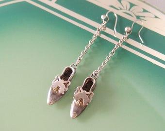 S O L D antique Victorian Silver Shoe Earrings low heeled Regency Slipper Bow dangle dainty drop pierced ear wires 1860s Novelty Jewelry