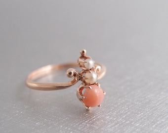 antique Halley's Comet 10k Rose Gold Ring Coral Pearl Victorian Edwardian M.B. Bryant Co size 6