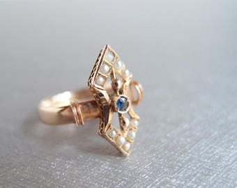antique Victorian 10k Rose Gold Double Arrow Sapphire Pearl Ring elongated vertical design Etruscan Renaissance Revival... size 6