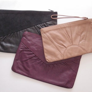 c842281597 vintage Leather Clutch Bag ... your choice of Taupe