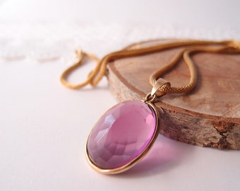 """Amethyst Necklace beautiful woven Gold Mesh tubular chain with large oval faceted glass pendant 1940s 1950s 24"""" length"""