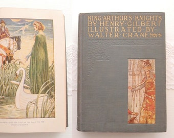 antique book King Arthur's Knights Henry Gilbert illustrated by Walter Crane 16 Art Nouveau color plates original early 1900s gilt hardcover