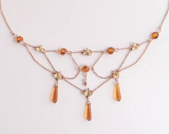 antique Edwardian Festoon Necklace faceted Amber Glass drops with green gold leaves draped swag collarette