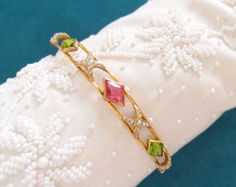 antique Georgian 10k Gold Wire Bangle Bracelet Pink Green Paste Gems with Seed Pearls Regency era Neoclassical early 19th century