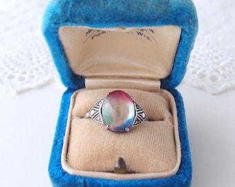 antique Iris Glass Ring rainbow crystal 800 silver geometric marcasite Art Deco Edwardian 1910s-20s size 9.25