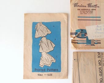 1950s Apron Sewing Pattern for 3 Half Aprons High Waist Fit and Flare Marian Martin 9361 complete & partially cut