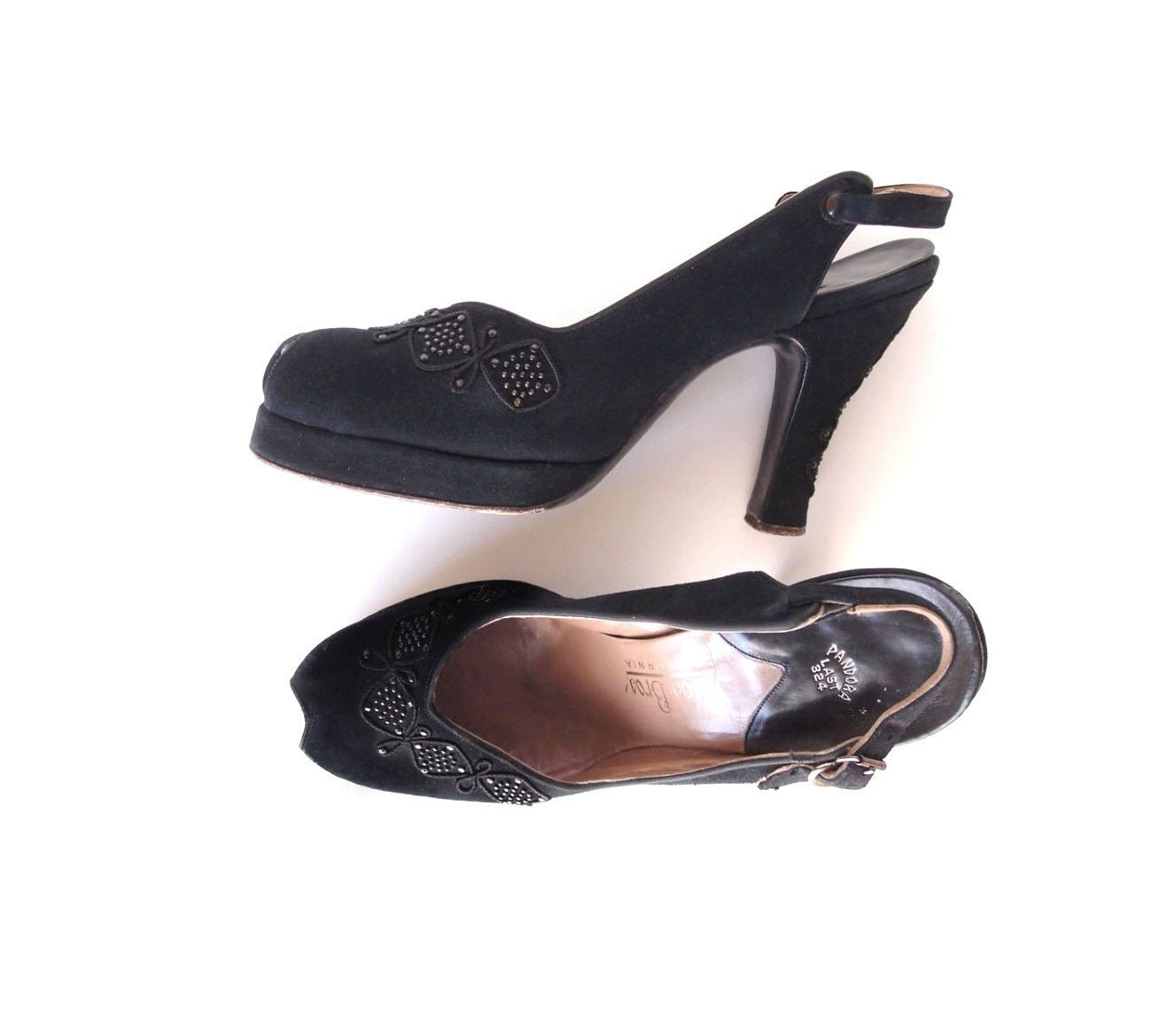 années 1940 peep-Toe escarpins Pandora chaussures daim noir luxe Suède cordon marcassite boucles d'oreilles ruban cordon Suède 4 '' de haut talon plateforme chaussures sz 6.5 ebd981