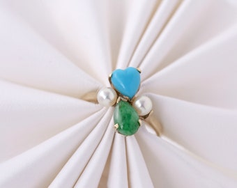 boxed 10k Gold Ring Persian Turquoise Heart Jade Teardrop Pear Cabochon Pearls 1960s 1970s vintage in original House of Suren box sz 7