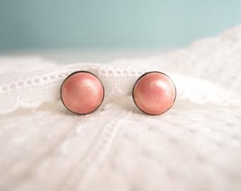Vintage Shimmery Coral Pink Enamel Sterling Silver Button Earrings Art Deco Mid Century Danish Scandinavian Modern petite size 15mm diameter