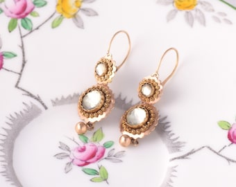 Antique 14k Gold Day to Night Cannetille Earrings Rose Cut Paste Diamonds Dutch hallmarks Georgian Victorian 19th century top drop earrings
