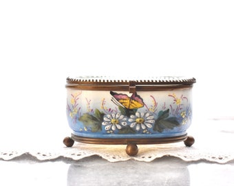 antique footed Vitrine Jewelry Casket Boudoir Vanity Dresser Box hand painted porcelain hinged beveled glass lid Victorian Edwardian