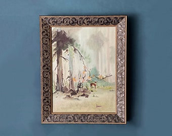 Vintage Oil Painting Deer in a Forest signed Keane 1950s Abstract Expressionist soft greens golden brown black floral frame medium small sz