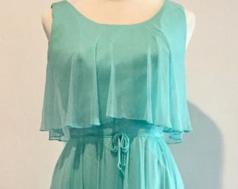 Darling Vintage 70s Aqua Blue Ruffled Chiffon Day Dress