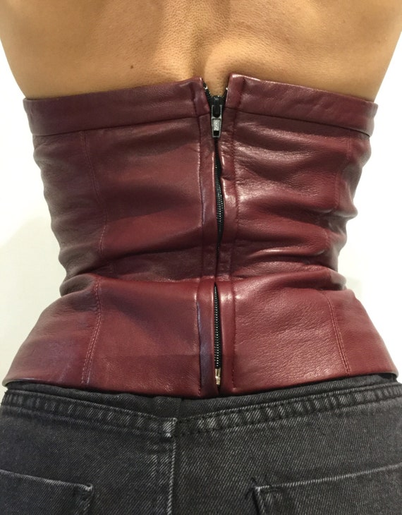 010567ac41bf Vintage JULES Burgandy Leather Bustier Top