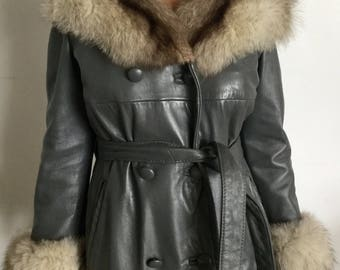 Amazing Vintage 60s Grey Leather Mod Belted Coat w/Fur Collar And Cuffs (reduced)