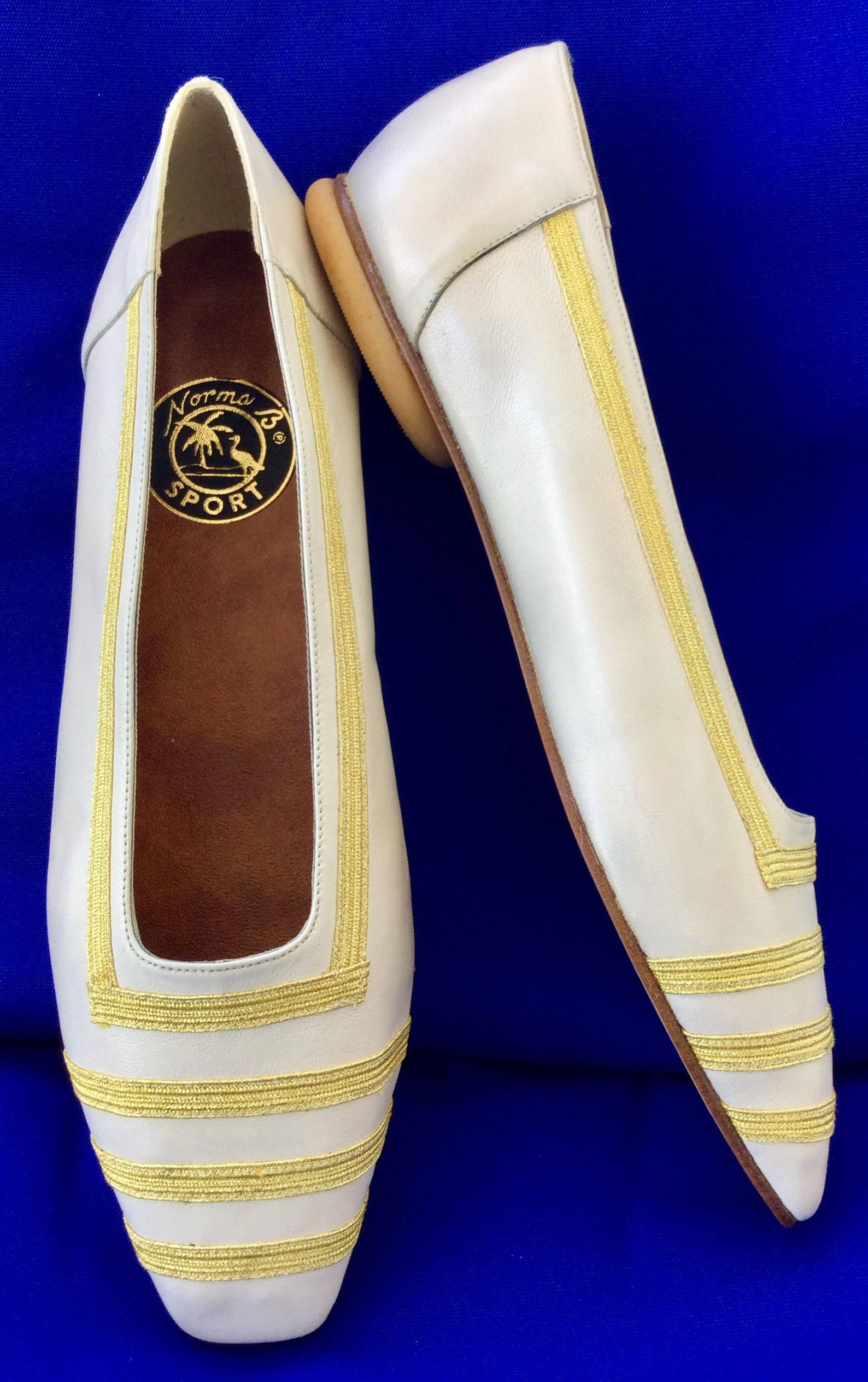 cool vintage nautical norma b sport white leather w/gold band square toe ballet/flat shoes(reduced)